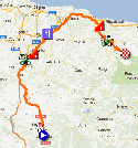 The map with the race route of the fifteenth stage of the Vuelta a España 2012 on Google Maps