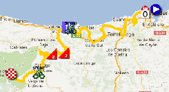 The map with the race route of the seventeenth stage of the Vuelta a España 2012 on Google Maps