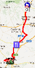 The map with the race route of the eighteenth stage of the Vuelta a España 2012 on Google Maps