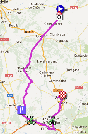 The map with the race route of the nineteenth stage of the Vuelta a Espa&ntildea 2012 on Google Maps