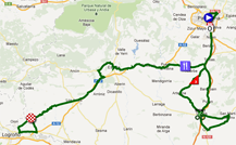 The map with the race route of the second stage of the Vuelta a España 2012 on Google Maps