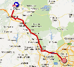 The map with the race route of the twentieth stage of the Vuelta a España 2012 on Google Maps