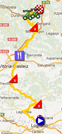 The map with the race route of the third stage of the Vuelta a Espa&ntildea 2012 on Google Maps
