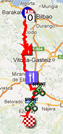 The map with the race route of the fourth stage of the Vuelta a España 2012 on Google Maps