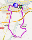 The map with the race route of the fifth stage of the Vuelta a España 2012 on Google Maps