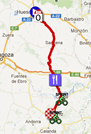 The map with the race route of the seventh stage of the Vuelta a España 2012 on Google Maps