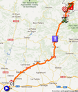 The map with the race route of the eighth stage of the Vuelta a España 2012 on Google Maps