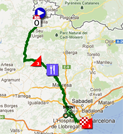 The map with the race route of the nineth stage of the Vuelta a España 2012 on Google Maps
