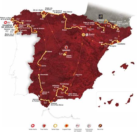 La carte officielle de la Vuelta a Espa&ntildea 2013