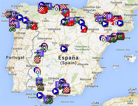 Google Earth Map Of Spain.The Tour Of Spain 2013 Race Route On Google Maps Google Earth And