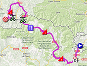 The map with the race route of the fifteenth stage of the Tour of Spain 2013 on Google Maps