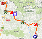 The map with the race route of the sixteenth stage of the Tour of Spain 2013 on Google Maps