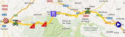The map with the race route of the seventeenth stage of the Tour of Spain 2013 on Google Maps