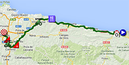 The map with the race route of the nineteenth stage of the Tour of Spain 2013 on Google Maps