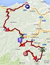 The map with the race route of the twentieth stage of the Tour of Spain 2013 on Google Maps