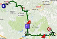 The map with the race route of the fifth stage of the Tour of Spain 2013 on Google Maps