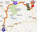 The map with the race route of the nineth stage of the Tour of Spain 2013 on Google Maps