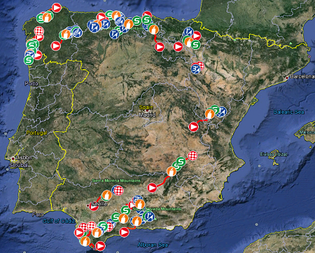 Google Earth Map Of Spain.The Tour Of Spain 2014 Race Route On Google Maps Blog Velowire