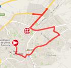 De kaart met het parcours van de eerste etappe van de Ronde van Spanje 2014 op Google Maps