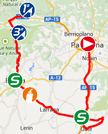The map with the race route of the eleventh stage of the Tour of Spain 2014 on Google Maps