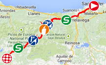 The map with the race route of the fourteenth stage of the Tour of Spain 2014 on Google Maps