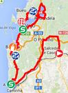 De kaart met het parcours van de negentiende etappe van de Ronde van Spanje 2014 op Google Maps