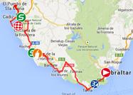 De kaart met het parcours van de tweede etappe van de Ronde van Spanje 2014 op Google Maps