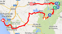 De kaart met het parcours van de derde etappe van de Ronde van Spanje 2014 op Google Maps