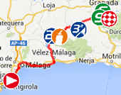The map with the race route of the sixth stage of the Tour of Spain 2014 on Google Maps
