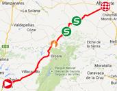 De kaart met het parcours van de achtste etappe van de Ronde van Spanje 2014 op Google Maps