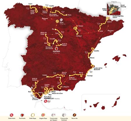 Carte du parcours du Tour d'Espagne 2015