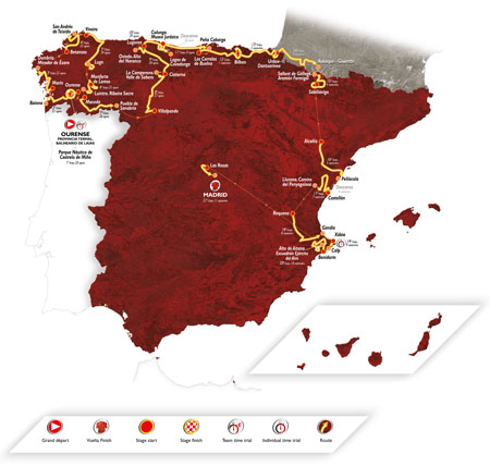 The map of the Tour of Spain 2016