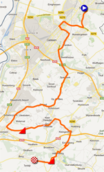 The map with the race route of the Team Time Trial UCI teams women of the World Championships 2012 on Google Maps