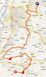De kaart met het parcours van de Ploegentijdrit UCI damesploegen van de Wereldkampioenschappen 2012 op Google Maps