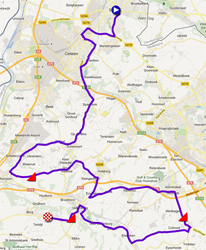 The map with the race route of the Team Time Trial UCI teams men of the World Championships 2012 on Google Maps