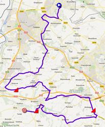 De kaart met het parcours van de Ploegentijdrit UCI herenploegen van de Wereldkampioenschappen 2012 op Google Maps