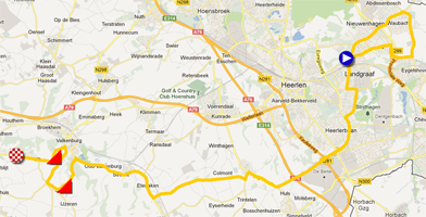 The map with the race route of the Individual time trial Under-23 men of the World Championships 2012 on Google Maps