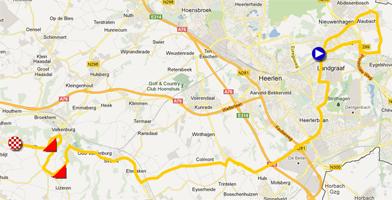 De kaart met het parcours van de Individuele tijdrit heren espoirs van de Wereldkampioenschappen 2012 op Google Maps