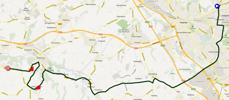 The map with the race route of the Individual time trial junior men of the World Championships 2012 on Google Maps