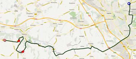 De kaart met het parcours van de Individuele tijdrit heren junioren van de Wereldkampioenschappen 2012 op Google Maps