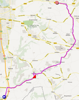 The map with the race route of the Individual time trial junior women of the World Championships 2012 on Google Maps