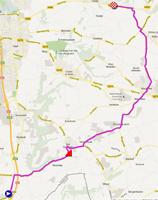 De kaart met het parcours van de Individuele tijdrit dames junioren van de Wereldkampioenschappen 2012 op Google Maps