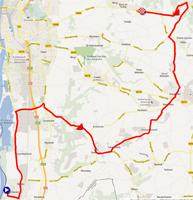 De kaart met het parcours van de Individuele tijdrit dames elite van de Wereldkampioenschappen 2012 op Google Maps