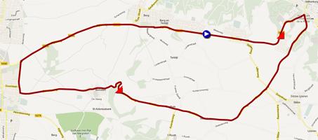 De kaart met het parcours van het Circuit van de wegwedstrijden van de Wereldkampioenschappen 2012 op Google Maps