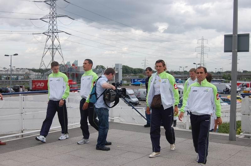 Une partie de l'équipe Liquigas Team au Tour de France 2007