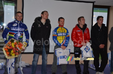 The podium of the cyclo cross in Moussy-le-Vieux