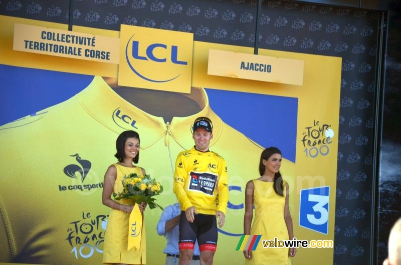 Jan Bakelants in yellow on the podium
