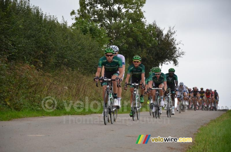 The Europcar team leading the peloton in Palfart (2)
