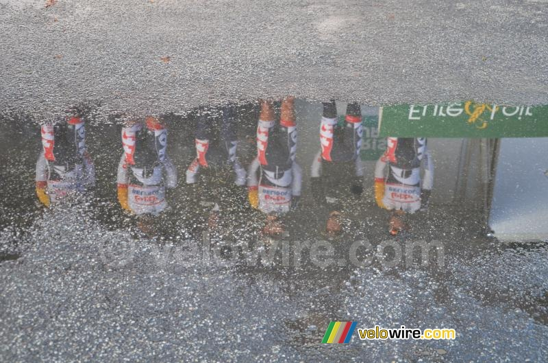 A reflection of the Lotto-Belisol team