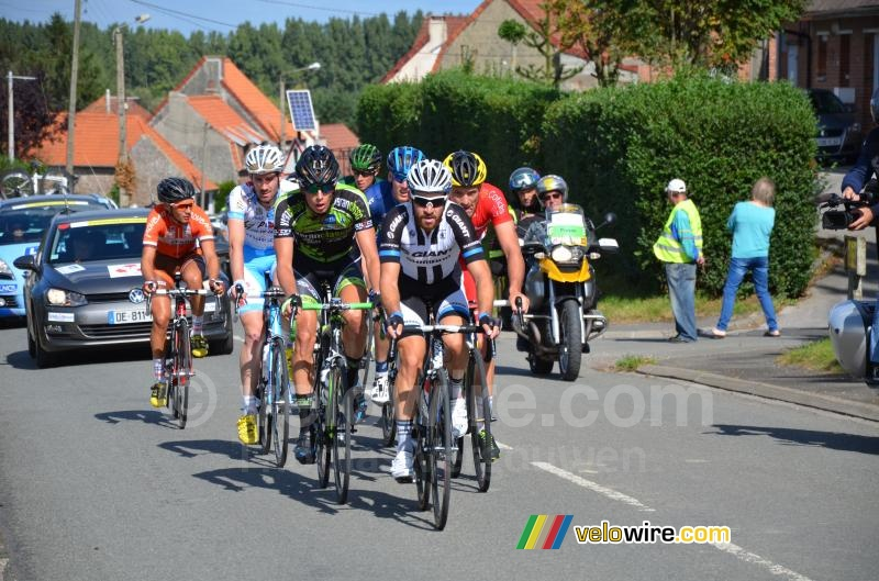 The breakaway on the climb after Burbure